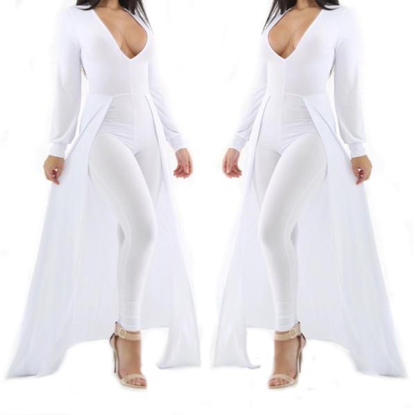 8fc33bc2a062 Wholesale- Women Long Sleeve Deep V Neck Bodysuit Sexy Olive Green White  Cap Cloak One Piece Choker Bodycon Jumpsuit Plus Size Rompers
