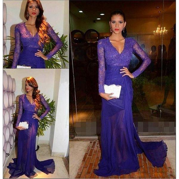 Dark Purple Mother Of The Bride Dresses Long Sleeves 2018 Sheath V-neck Woman Elegant Groom Evening Gowns Vestidos De Noite Para Casamento