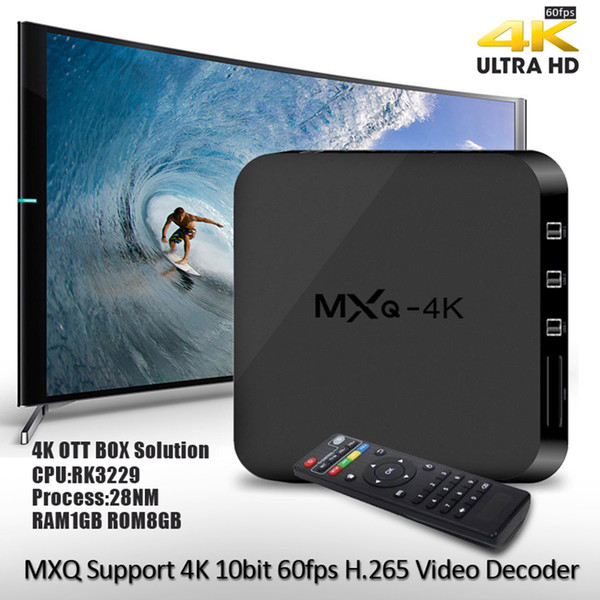 best selling Android 6.0 TV Box MXQ-4K Quad Core 8G 1G Rockchip RK3229 Smart TV Box suport WIFI 4K 3D SD