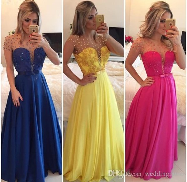 2019 Yellow Prom Dresses Custom Made Chiffon Cheap Long Evening Gowns Royal Blue A Line Sheer Jewel Cap Sleeves with Pearls Lace Appliques