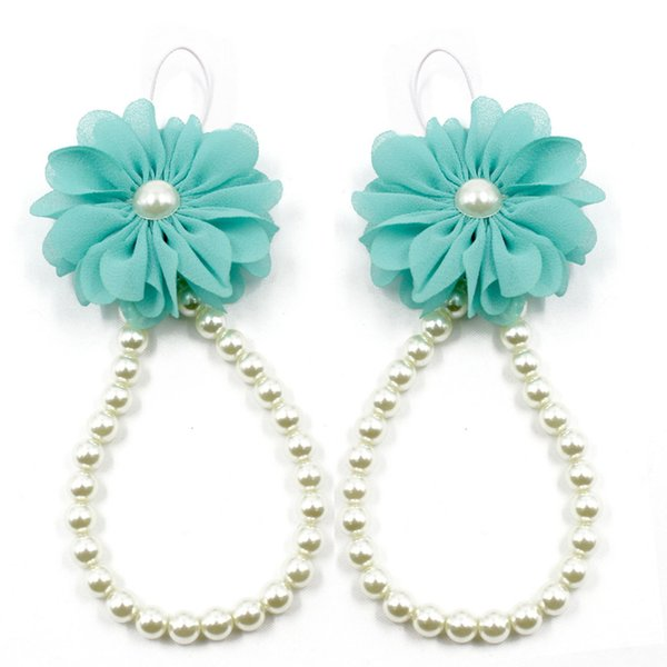 Wholesale- Lovely Newborn Baby Girls Flower Sandals Pearl Flower Foot Band Toe Rings Barefoot Sandals Anklets Kids Accessorie 1Pair