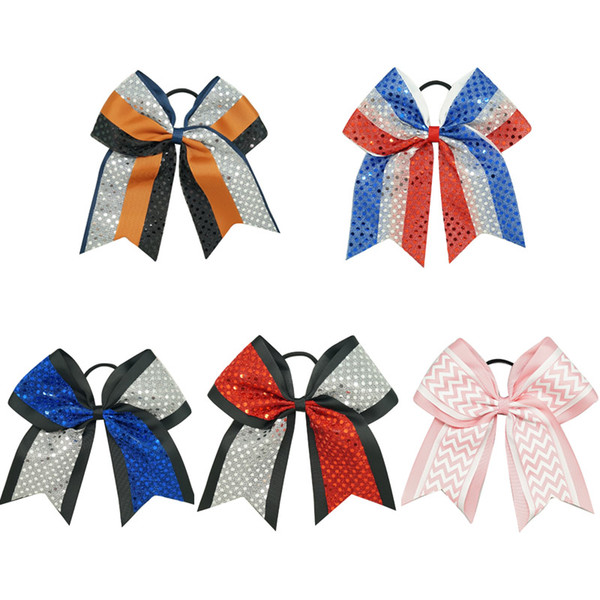 """Wholesale 8"""" Big Sequin Cheer Bows Patchwork Cheerleading Bow With Elastic Band Ribbon Cheer Bow For Girls Kids Hair Accessories 15Pcs/lot"""