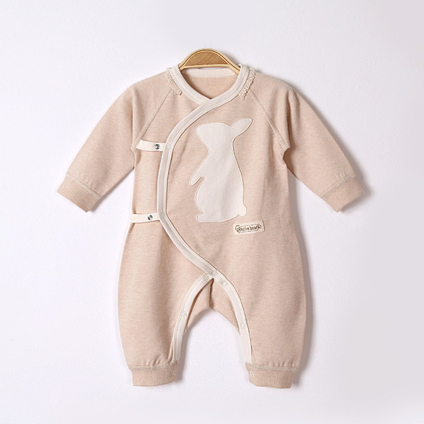 top popular 2017 autumn and winter newborn baby clothes baby long-sleeved jeans cartoon pattern oblique lapel tie color cotton baby conjoined clothing 2019