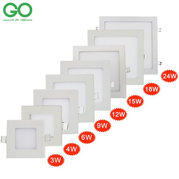 LED Square Panel Lights 3W 4W 6W 9W 12W 15W 18W 24W Oberflächendecke Einbau Downlight SMD2835 Deckenpaneel unten Lampenlicht