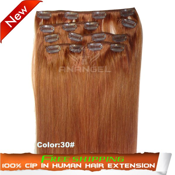 Wholesale-Cheap 100% Brazilian Virgin Human Weave Kinky Straight 7pcs/set Full Head Clip in on Remy Real Hair Extension (color 30#)
