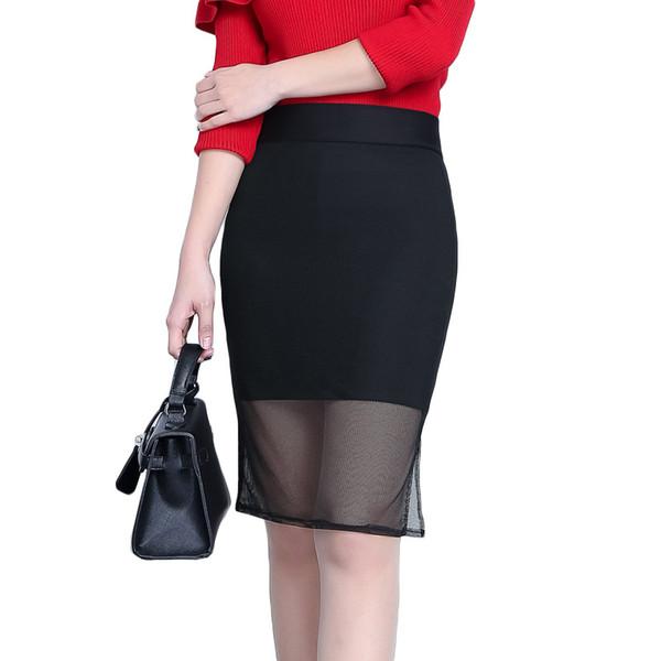 dbb979f6537a Großhandel Schwarz Mesh Patchwork Spitze Tüll Rock Damen Knie Länge OL Midi  Röcke Damenmode Arbeitskleidung Saias Femininas Von Moshuichun, $11.42 ...