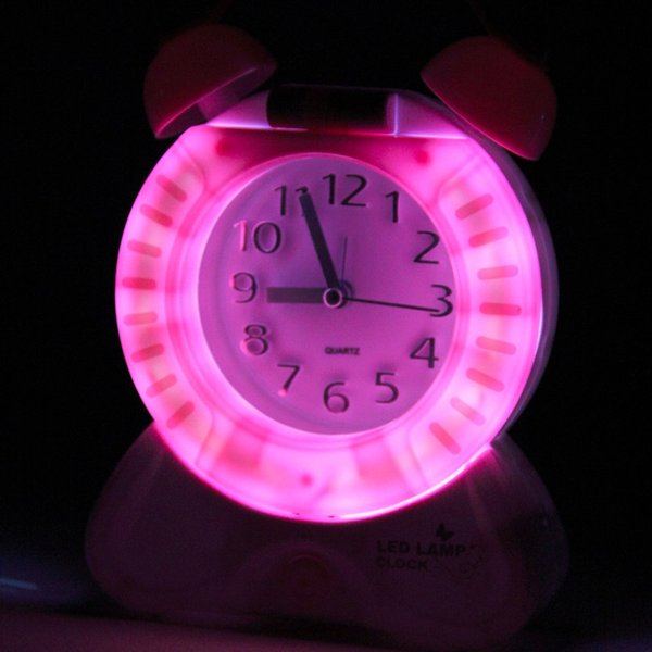 Hot Hot 2 in 1 Multifunctional Home Bedside Table Desk Night Light Lamp pointer Clock