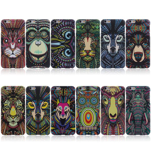 Animals Lion Wolf Owl Pattern Hard Back Phone Case For iPhone se 5s 6 s 7 Plus Glow In Dark Luminous Forest King US1