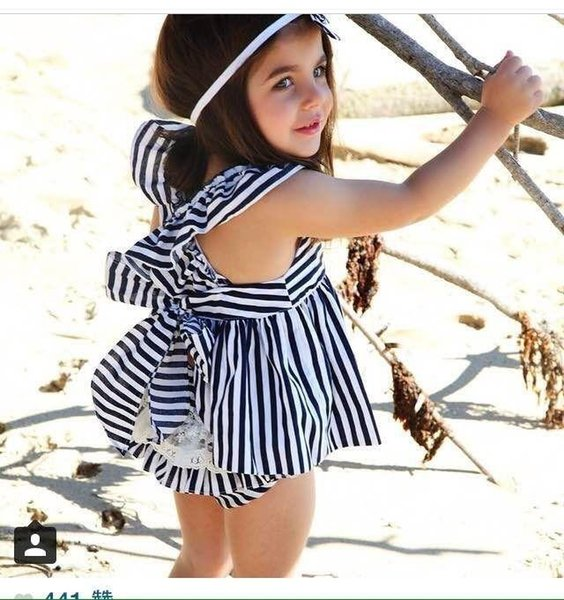 Baby Striped Tops Briefs Clothing Sets Summer Infants Ruffles Bow Vest LaceTriangle Pants Suits Toddlers Slip Backless Clothes Underwwear