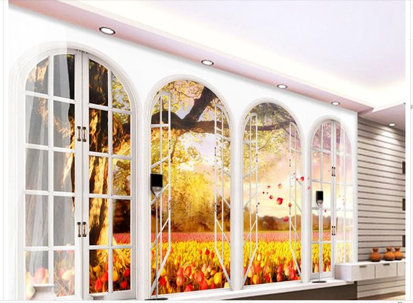 Classic Wallpaper For Walls Customized European Style Arches Golden Trees 3d TV
