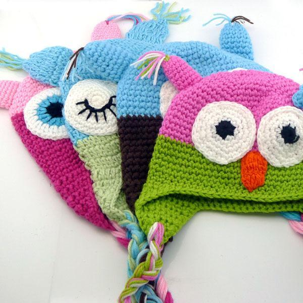 Winter Multicolor Infant Toddler Handmade Knitted Crochet Baby Hat Owl Hat Cap With Ear Flap Animal Style For Girl Boy Gift Warm