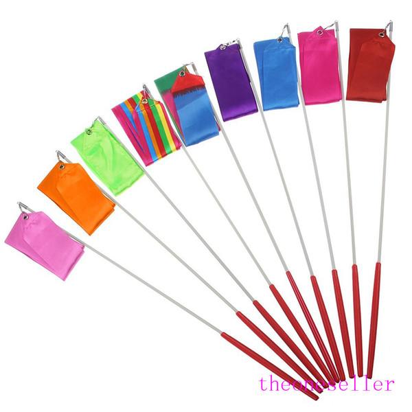 New 4M Gymnastics Colored Ribbon Gym Rhythmic Art Ballet Dance Ribbon Streamer Twirling Rod Stick Multi Colors