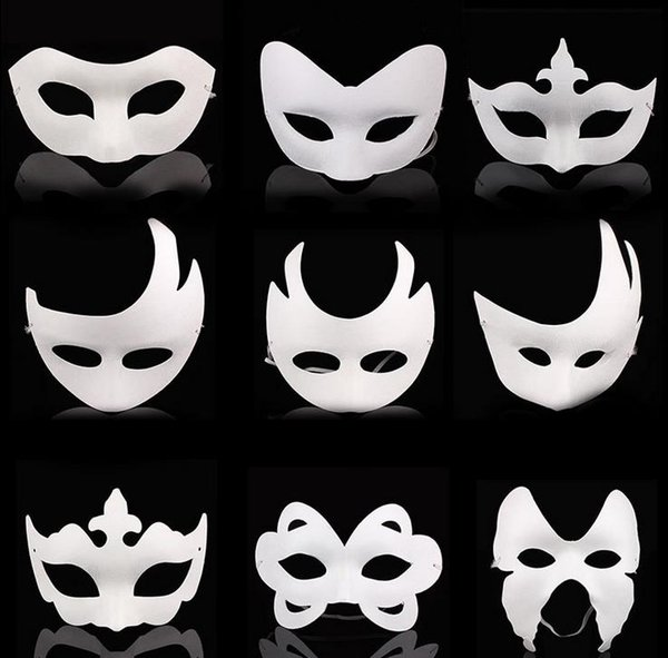 DIY hand painted Halloween white face mask crown butterfly blank paper mask masquerade cosplay mask kid draw party masks props