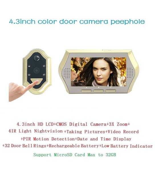 Hot wireless door peephole camera 4.3inch LCD 0.3Megapixels camera IR Night vision 3X Zoom 32Rings PIR motion detection Max 32G