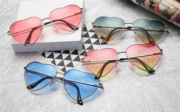Kalp Şeklinde Güneş Gözlüğü KADıN metal Yansıtıcı LENES Moda güneş CAMLER erkekler ve kadınlar Ayna óculos de sol YENI parti hediyeler için J003