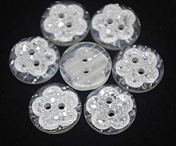 Bottone in resina per cucire Scrapbooking Fiore rotondo Due fori 15mm Dia. 50 PC Costura Botones decorano bottoni botoes