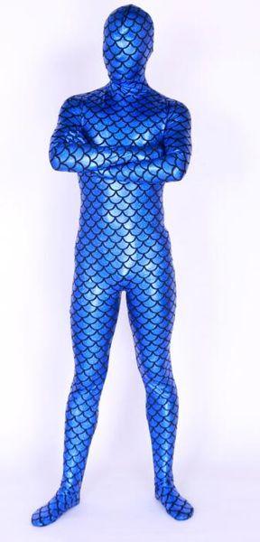 New fabrics blue metal big Scale films Lycra Body Suit Fancy Dress Super Hero Bodysuit