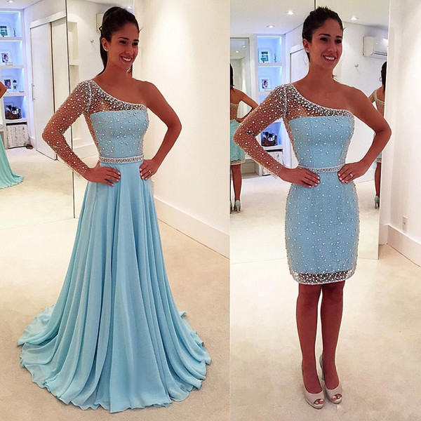 2 Pieces Detachable Skirt Light Sky Blue Prom Dresses One Shoulder Long Sleeve Crystals Beads Chiffon Party Dress Custom Size