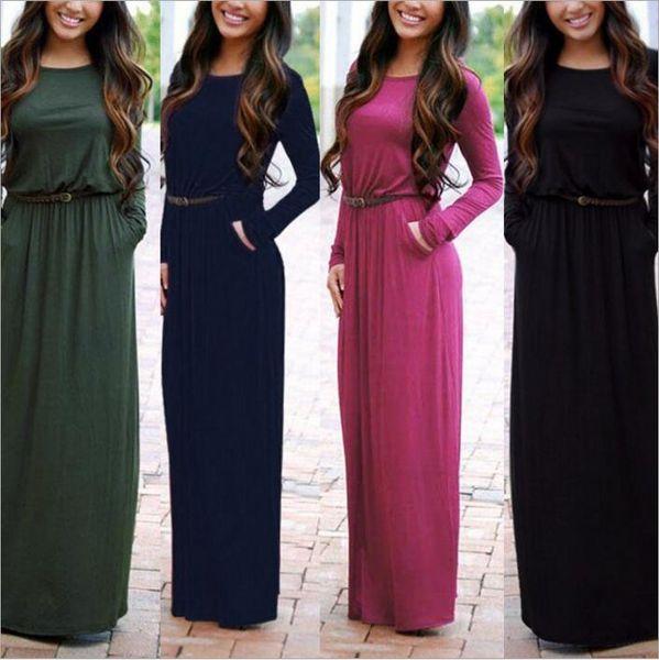 Dresses Maxi High Waist Dresses Boho Fashion Dress Long Bodycon Casual Dress Sexy Party Elegant Dress With Belt Vestidos Women Clothes B2538
