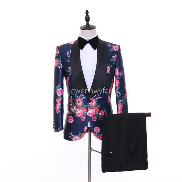 2018 Stage Clothing Slim Fit Groom Tuxedos Men Suits Terno Masculino Best Men Groomsmen Wedding Suits (Jacket+Pants)