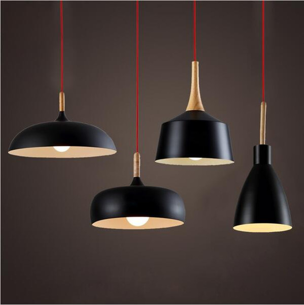 Loft Aluminum Led Pendant Lights Resraurant Ligting Wood hanging Light Black White Pendant Lighting Fixture for Restaurant Bar Coffee Room