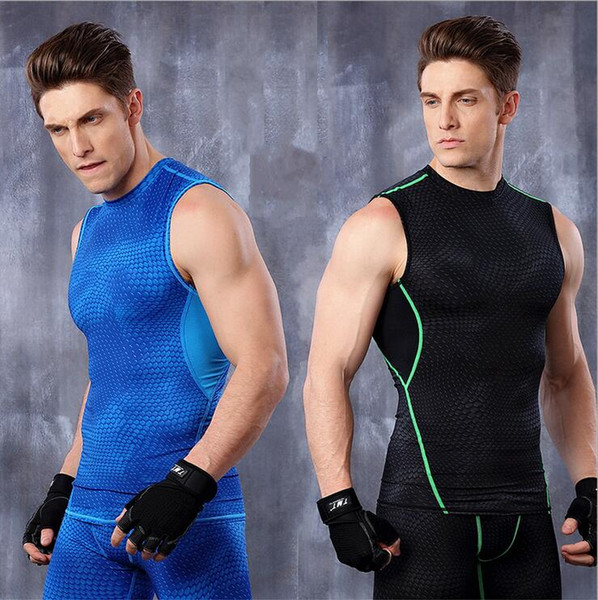 Men's Fish-scale pattern Tight-fitting Sports Gym Tank Tops Body Shapers For Men Workout Bodybuilding Fitness Running Training Stretch Vests