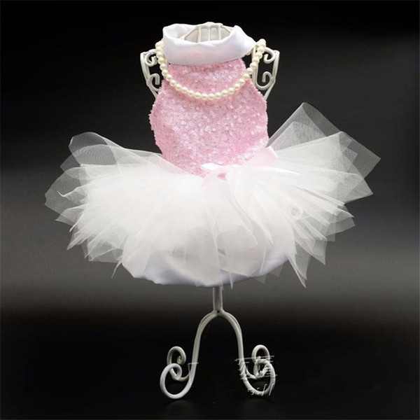 Pet Dog Wedding Dress With Sequin Pet Skirt Mini Pink Lace Tutu Skirt Dogs Princess Dresses Wedding Dresses