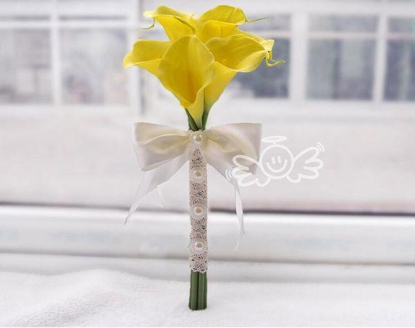 6 pieces calla lily yellow
