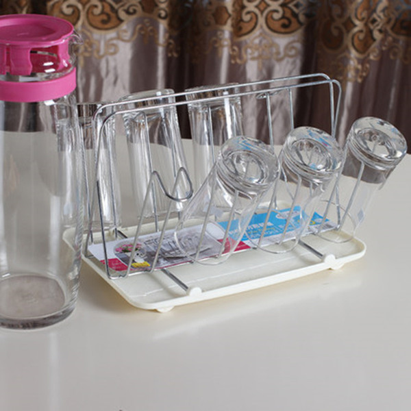 Stainless Steel Square Cup Holder With Tray Bottle Drying Rack Antibiotic Drainer Dryer Shelf Water Glass