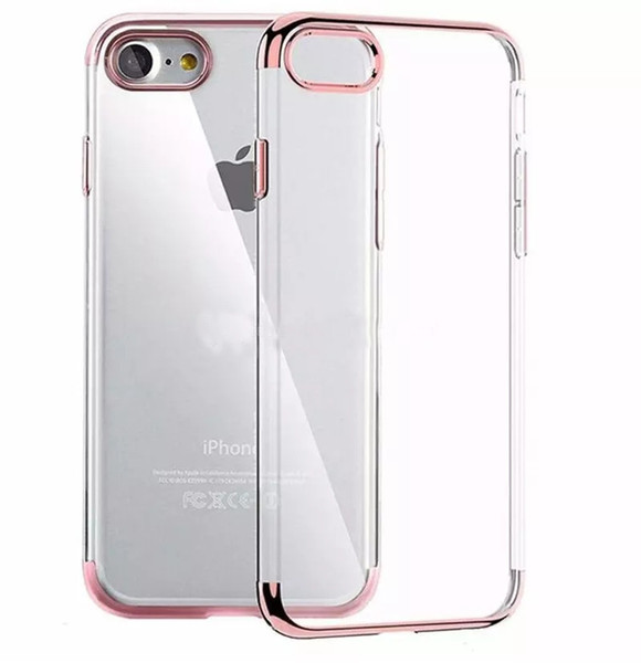 top popular Ultra Thin Metal Electroplating Soft TPU Clear Case Transparent Cover For iPhone 11 Pro Max Xs Xr 8 7 6S Plus Samsung S8 S9 Plus Note 10 9 2020