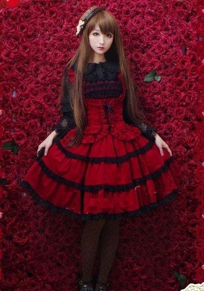 2016 Новый Благородный Красный Сладкий Лолита Платье Для Дам