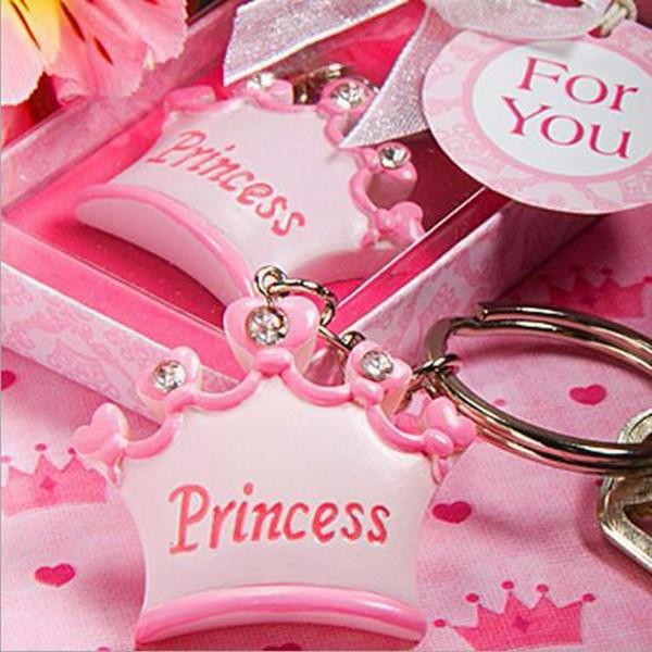 neue Sammlung der Großhandels100pcs / lot rosafarbene Kronen-Prinzessin Keychains Hochzeits-Babyparty-Bevorzugungs-Geschenk-Schlüsselketten + Geschenkkastenhochzeitsgeschenk