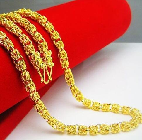 Necklace Double Dragon Heads Unisex 14K Yellow Gold Filled Men Bones Chain Gift