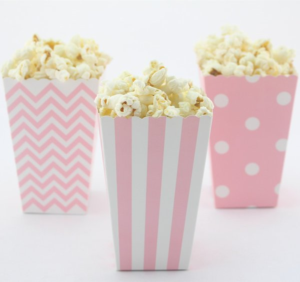 Spedizione gratuita !!! 24 pz / lotto mix eco-friendly a strisce / polk dot / chevron scatola di popcorn di carta colorata per matrimonio / baby shower