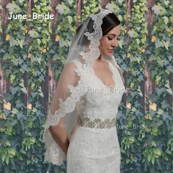 Fingertip Length Veil Alencon Lace Crescent Lace Edge Mantilla Bridal Veil Wedding Accessory White Ivory One Layer Wedding Veil Factory Made