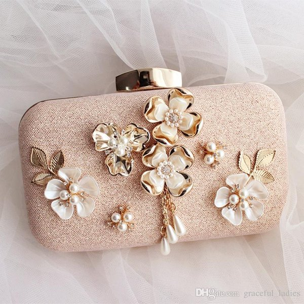 Cute Pink Bridal Hand Bags For Brides Pearl Flower Wedding Hand Bags With Chain Shoulder Bag Handmade High Quality Handbags 2016