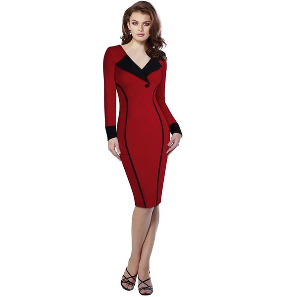 2017 Women Office Lady Fashion Dress Red with Tailored Collar Spring and Autumn Long sleeve Bodycon Dress Cotton Blend