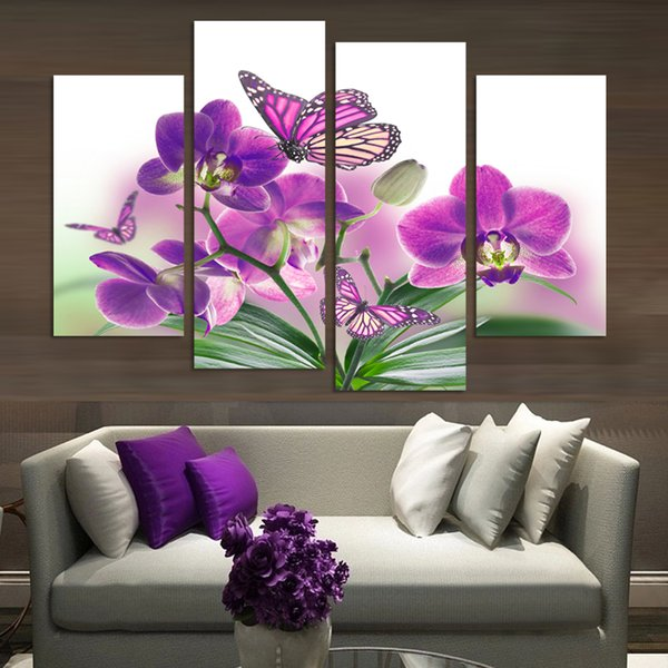 4 Painel Bela borboleta flores da orquídea impresso na lona para sala de estar decoração de casa arte da parede pintura a óleo sem moldura