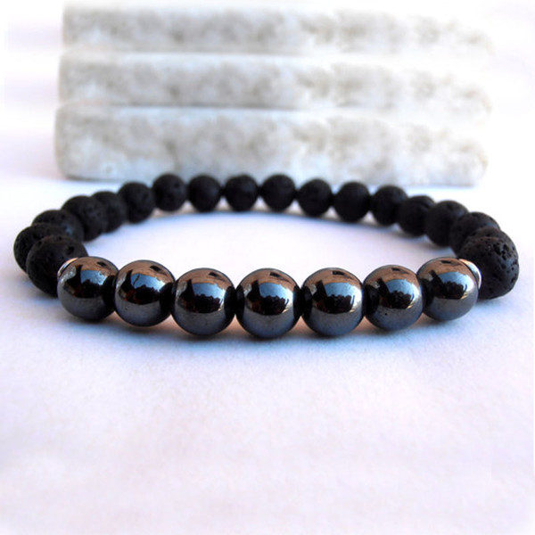 best selling SN0107 Mens Healing 8mm Natural Stone Lava Mala bracelet Men Hematite bracelet Commodity