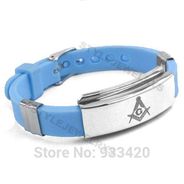 Free shipping! Classic Masonic Bracelet Stainless Steel Jewelry Blue Rubber Masonic Bracelet Motor Biker Men Wholesale SJB01215B