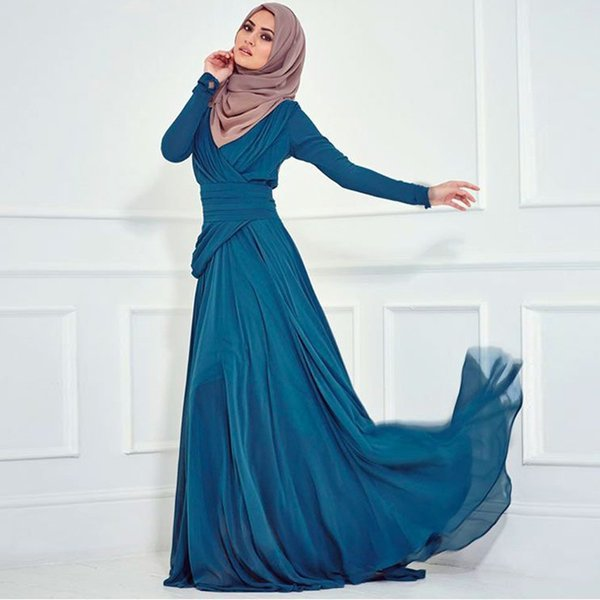 Fashion Turkish Islamic Clothing Women Party Evening Gowns Long Sleeve Muslim Evening Dress For Muslim Prom Dresses Abaya Dubai