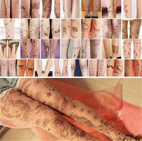 Fashion Women Girl Sheer Pantyhose Tights Stockings Hosiery Socks Nylon Tattoo Pattern Temptation Trendy Sexy Free Shipping