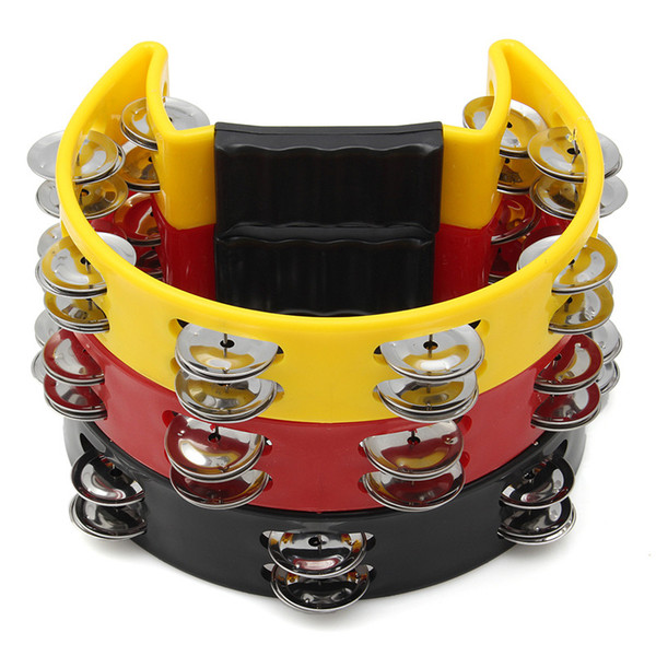 best selling 3 Colors Musical Tambourine Hand Held with Double Row Metal Jingles Percussion Drum Party Gift Handle Percussion Instruments