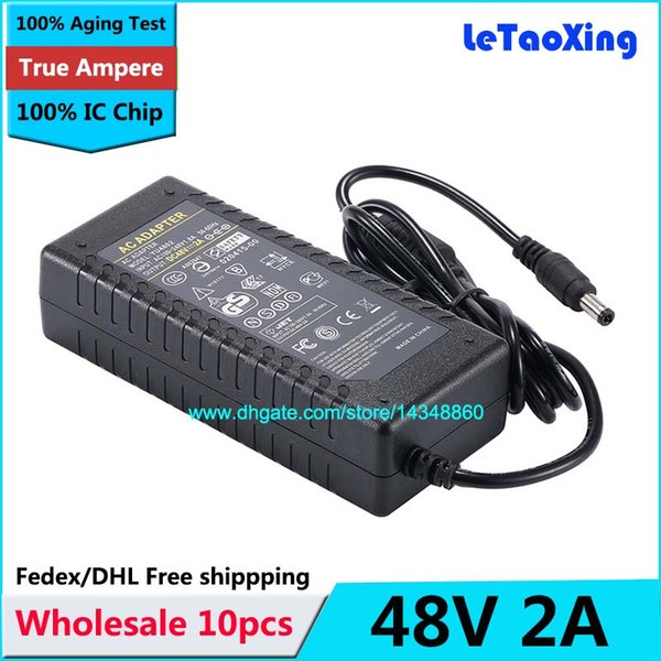10pcs AC 100-240V Adaptor To DC Power Adapter 48V 2A Supply 96W For 5050 3528 LED Light Monitor DHL Free shipping With IC Chip