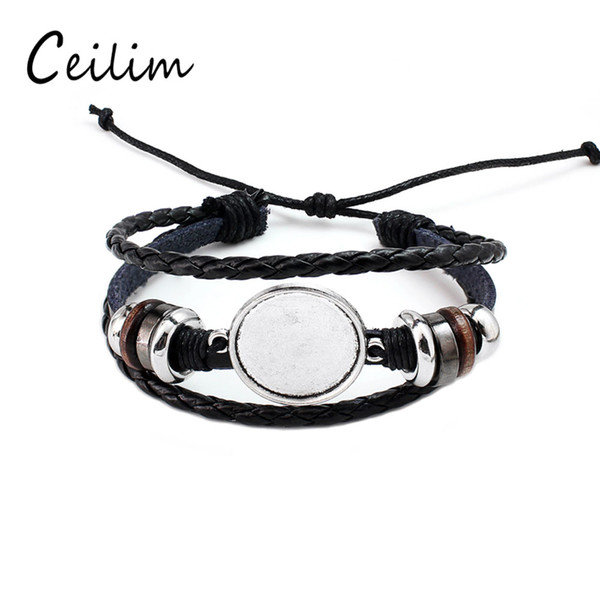 top popular Fashion Jewelry DIY Multi Layer Leather Bracelet Bangle Blank Base Fit 20mm Round Photo Glass Cabochon Setting Bezel Tray Jewelry Making 2019