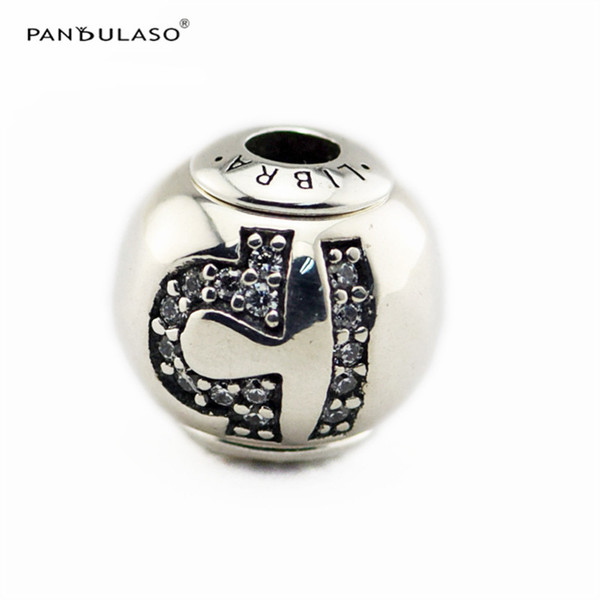 LIBRA with Clear CZ Charm Essence Collection Fits Pandora Bracelets 2.5mm Hole Sterling-Silver-jewelry Beads For Woman Wholesale