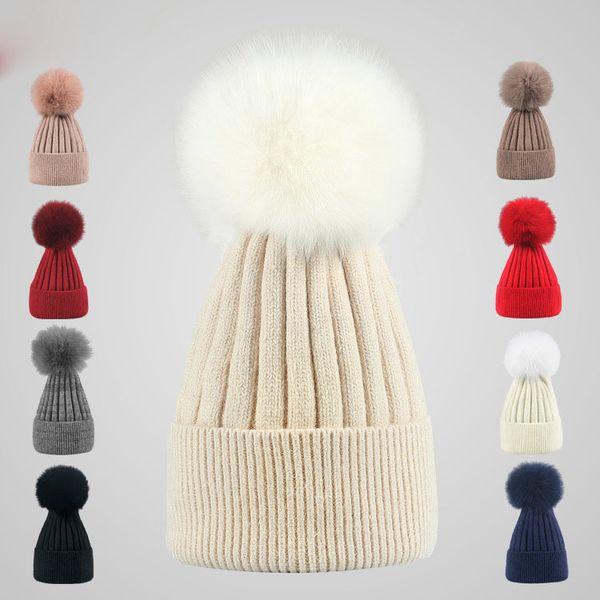 9 Colors Winter Double twist Beanie Knitted Big Rabbit Hair Fur Pom Poms Hat Women Cap Headgear Headdress Head Warmer Top Quality