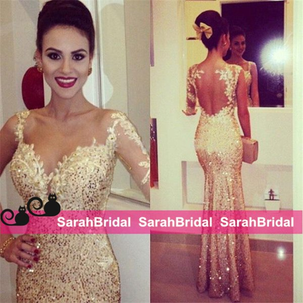 Metallic Gold Sequined Shine Evening Dresses with Single Long Sleeve for Women Formal Occasion Wear Sale Sparkly Fit and Flare Prom Gowns