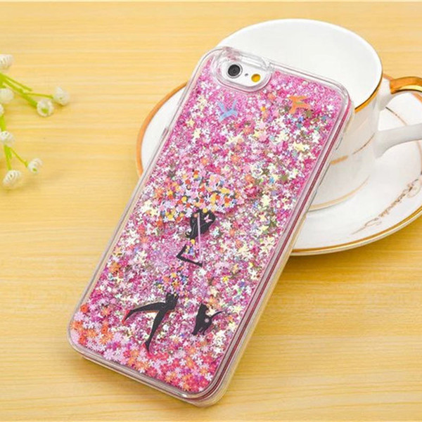 For iphone 5 5s 6 6s plus Case with Umbrella Girl Luxury Bling Glitter Dynamic Moving Liquid Floating Stars Moving Hard Protective Cover