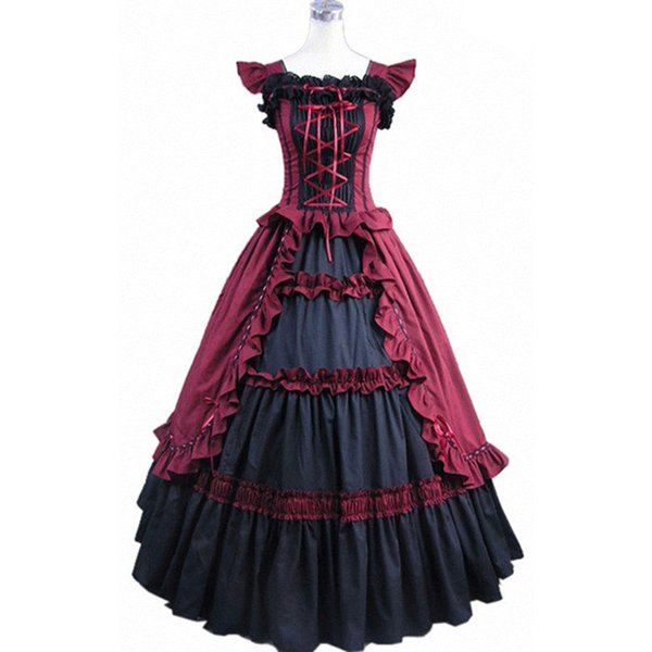 Red Short Sleeve Gothic Victorian Lolita Prom Dress Ball Gown Fancy ...